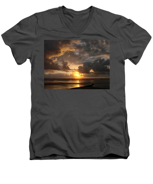 Men's V-Neck T-Shirt featuring the photograph Majestic Sunset by Athena Mckinzie
