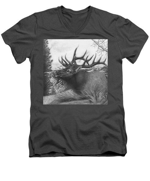 Majestic Bull Elk Men's V-Neck T-Shirt