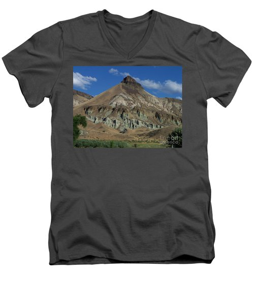 Men's V-Neck T-Shirt featuring the photograph Majestic Rimrock by Chalet Roome-Rigdon