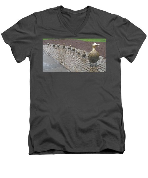 Men's V-Neck T-Shirt featuring the photograph Make Way For Ducklings by Barbara McDevitt