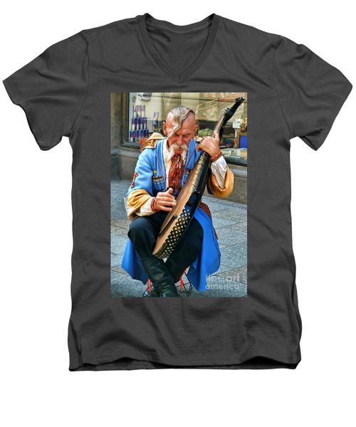 Men's V-Neck T-Shirt featuring the photograph Making A Living by Mariola Bitner