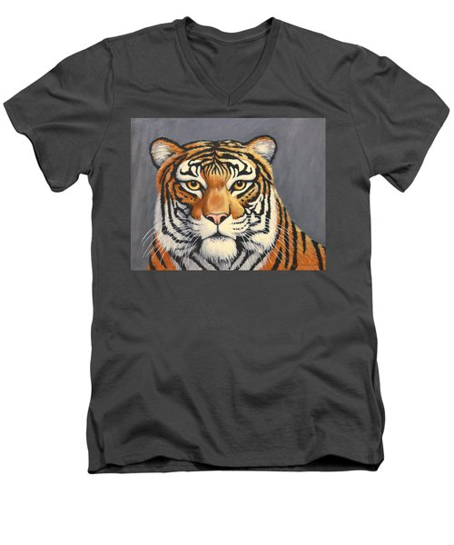 Men's V-Neck T-Shirt featuring the painting Malayan Tiger Portrait by Penny Birch-Williams