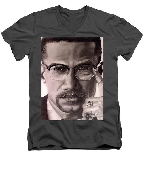 Men's V-Neck T-Shirt featuring the drawing Malcolm X by Wil Golden