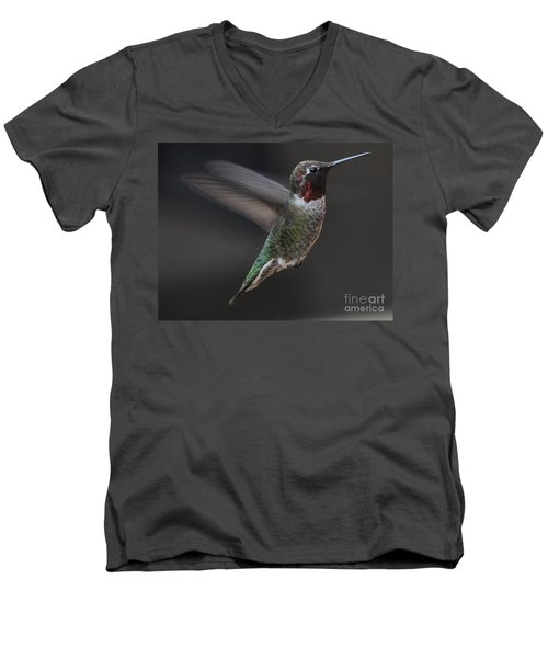 Men's V-Neck T-Shirt featuring the photograph Male Anna Hummingbird In Flight by Jay Milo
