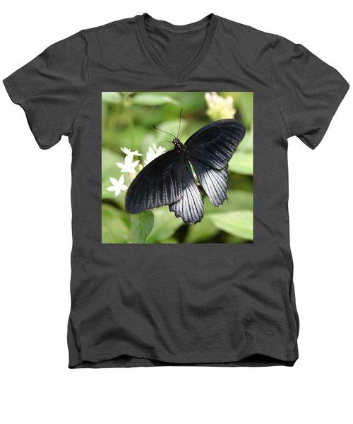 Male Scarlet Swallowtail Men's V-Neck T-Shirt by Denyse Duhaime