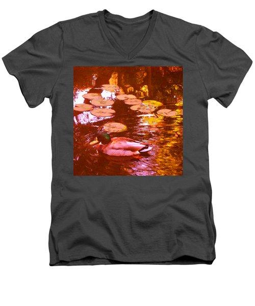 Mallard Duck On Pond 3 Square Men's V-Neck T-Shirt
