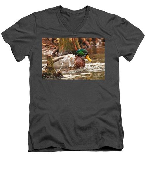 Men's V-Neck T-Shirt featuring the photograph Mallard Duck Taking Bath by Luana K Perez