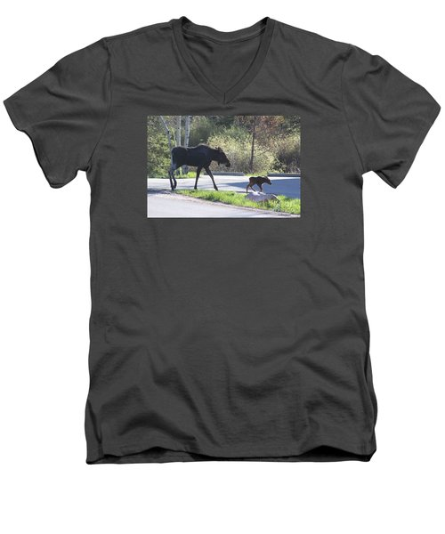 Mama And Baby Moose Men's V-Neck T-Shirt by Fiona Kennard