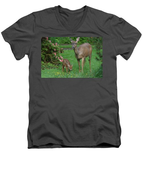 Mama Deer And Baby Bambi Men's V-Neck T-Shirt
