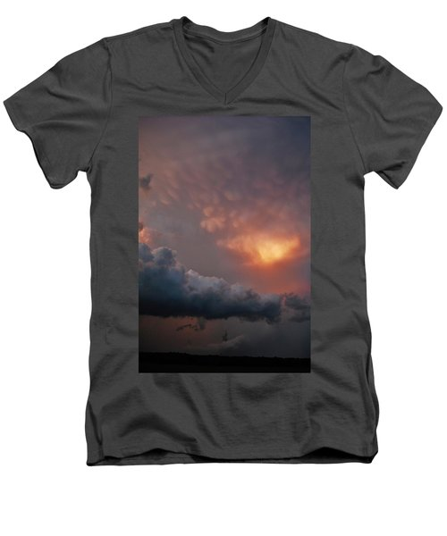 Men's V-Neck T-Shirt featuring the photograph Mammatus At Sunset by Ed Sweeney