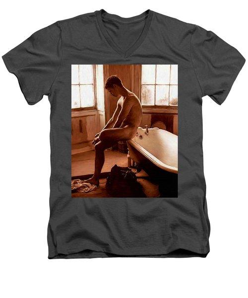 Man And Bath Men's V-Neck T-Shirt