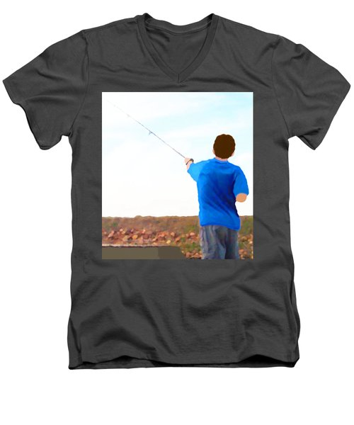 Men's V-Neck T-Shirt featuring the painting Man Fishing by Marian Cates
