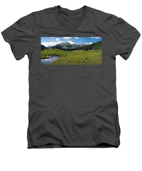 Man Fly-fishing In Slate River, Crested Men's V-Neck T-Shirt