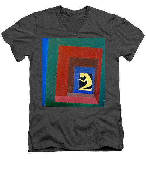 Men's V-Neck T-Shirt featuring the painting Man In A Box by Lenore Senior