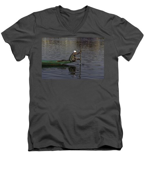 Man Plying A Wooden Boat On The Dal Lake Men's V-Neck T-Shirt