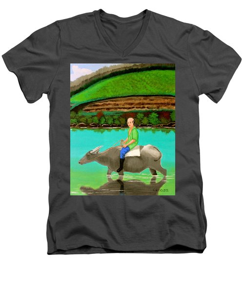Man Riding A Carabao Men's V-Neck T-Shirt