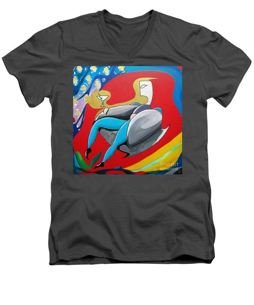 Man Sitting In Chair Men's V-Neck T-Shirt