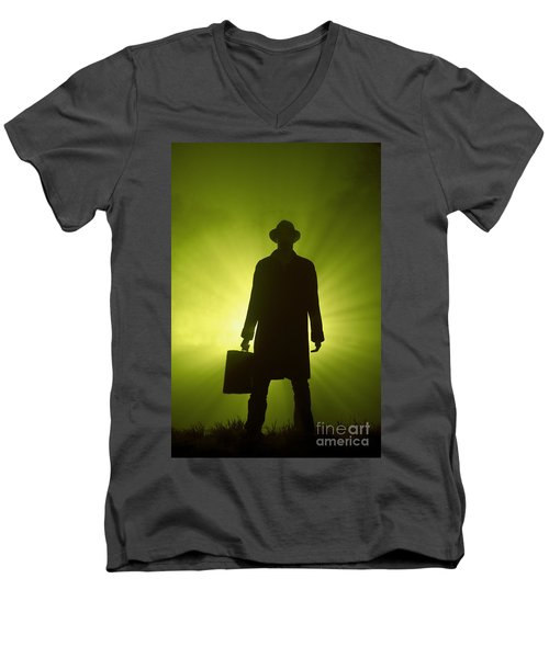 Men's V-Neck T-Shirt featuring the photograph Man With Case In Green Light by Lee Avison
