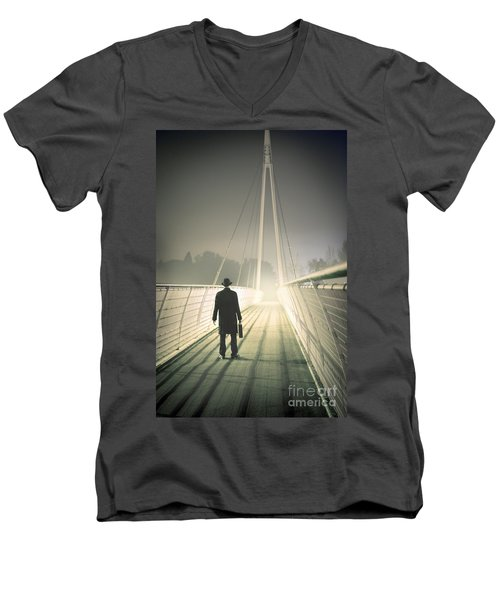 Men's V-Neck T-Shirt featuring the photograph Man With Case On Bridge by Lee Avison