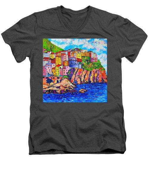 Manarola Cinque Terre Italy Detail Men's V-Neck T-Shirt by Ana Maria Edulescu