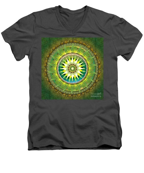 Mandala Green Men's V-Neck T-Shirt