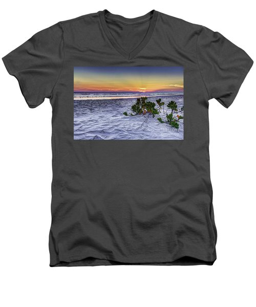 Mangrove On The Beach Men's V-Neck T-Shirt by Marvin Spates