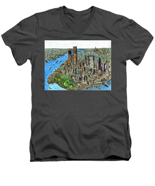 New York Downtown Manhattan 1972 Men's V-Neck T-Shirt