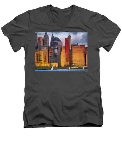 Beautiful City Manhattan Digital Painting Men's V-Neck T-Shirt by Georgi Dimitrov