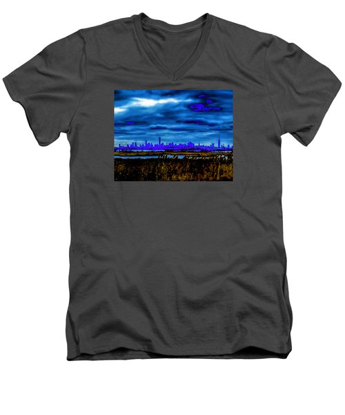 Men's V-Neck T-Shirt featuring the photograph Manhattan Project by Michael Nowotny