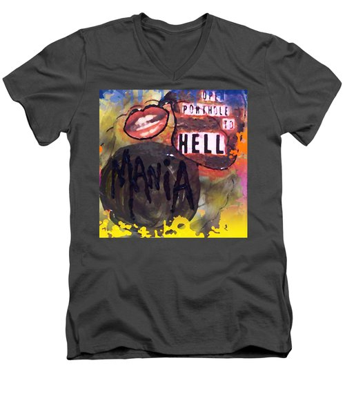 Men's V-Neck T-Shirt featuring the digital art Mania by Lisa Piper