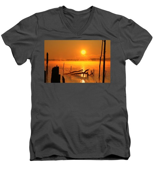 Mantis Sunrise Men's V-Neck T-Shirt by Roger Becker