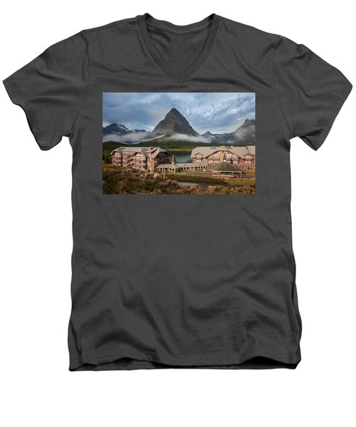 Many Glacier Hotel Men's V-Neck T-Shirt by Jack Bell