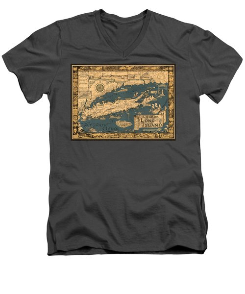 Map Of Long Island Men's V-Neck T-Shirt