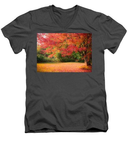 Maple In Red And Orange Men's V-Neck T-Shirt