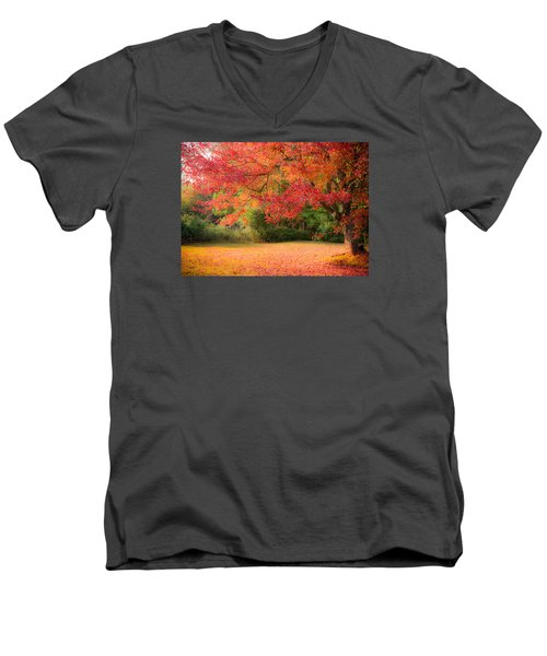 Maple In Red And Orange Men's V-Neck T-Shirt