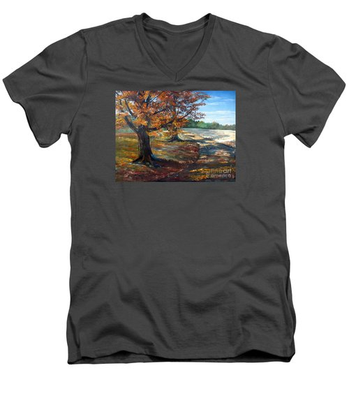 Men's V-Neck T-Shirt featuring the painting Maple Lane by Lee Piper