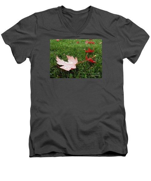 Maple Leaf In Canada Men's V-Neck T-Shirt