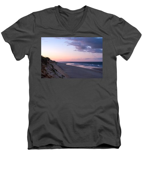 Marconi Beach At Dusk Men's V-Neck T-Shirt