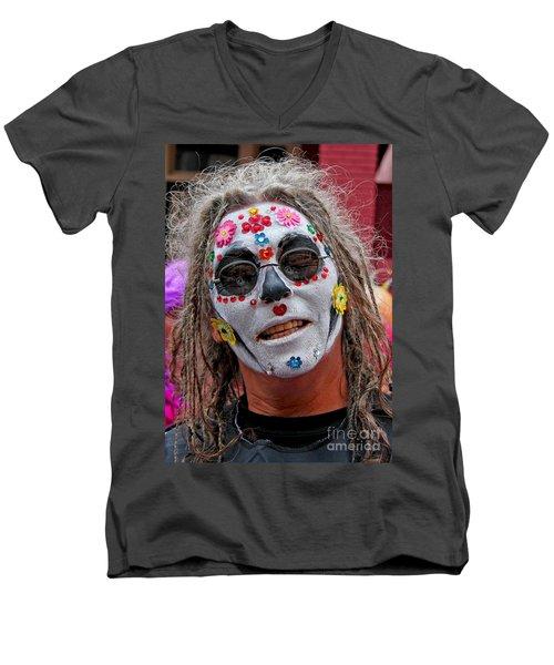 Men's V-Neck T-Shirt featuring the photograph Mardi Gras Happy Face by Luana K Perez