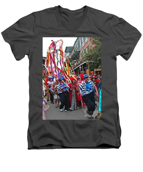 Men's V-Neck T-Shirt featuring the photograph Mardi Gras In New Orleans by Luana K Perez