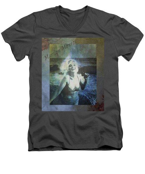 Marilyn Monroe At The Beach Men's V-Neck T-Shirt by Absinthe Art By Michelle LeAnn Scott