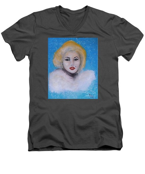 Marilyn Monroe Out Of The Blue Into The White Men's V-Neck T-Shirt by Donna Dixon