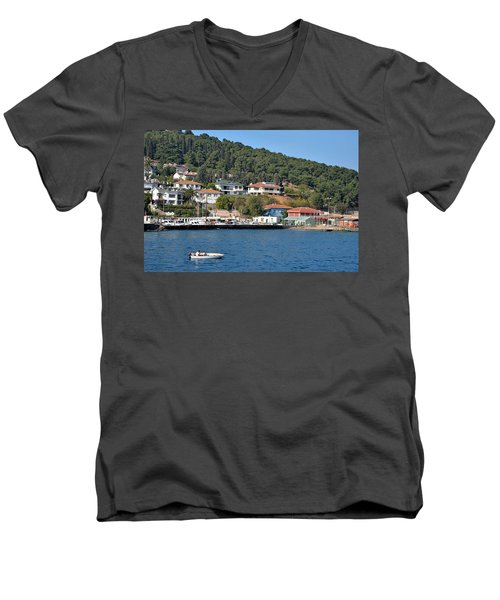 Men's V-Neck T-Shirt featuring the photograph Marina Bay Scene With Boat And Houses On Hills by Imran Ahmed