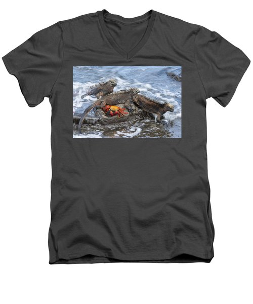 Marine Iguana Trio And Sally Lightfoot Men's V-Neck T-Shirt