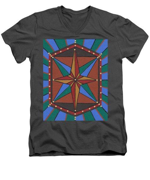 Mariner Rose Men's V-Neck T-Shirt by Barbara St Jean