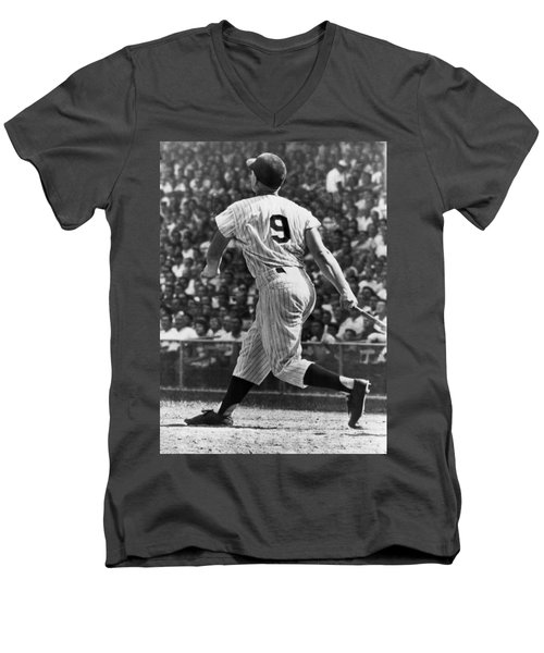 Maris Hits 52nd Home Run Men's V-Neck T-Shirt by Underwood Archives