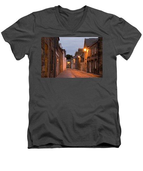 Market Street At Dusk Men's V-Neck T-Shirt by Jeremy Voisey