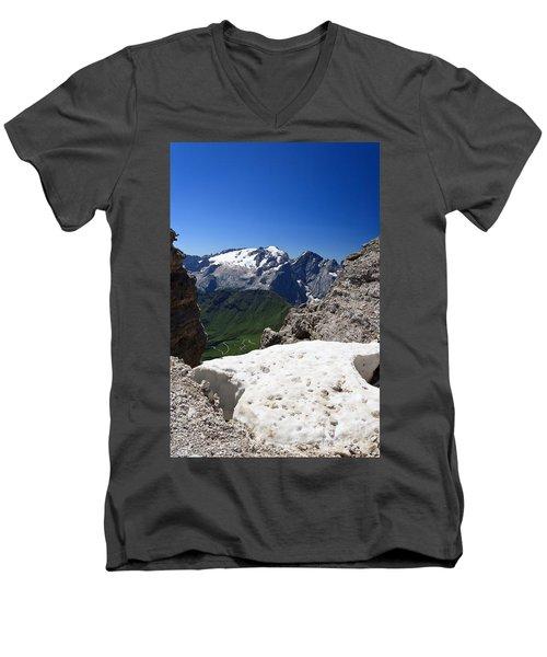 Men's V-Neck T-Shirt featuring the photograph Marmolada From Saas Pordoi by Antonio Scarpi