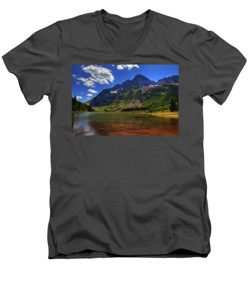Men's V-Neck T-Shirt featuring the photograph Maroon Bells by Alan Vance Ley