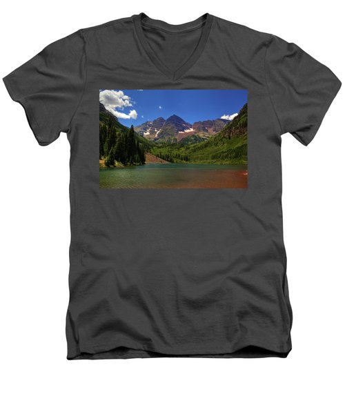 Men's V-Neck T-Shirt featuring the photograph Maroon Bells From Maroon Lake by Alan Vance Ley